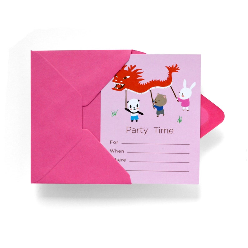 Dragon Dance Fill-in Party Invitation Set of 12 image 0