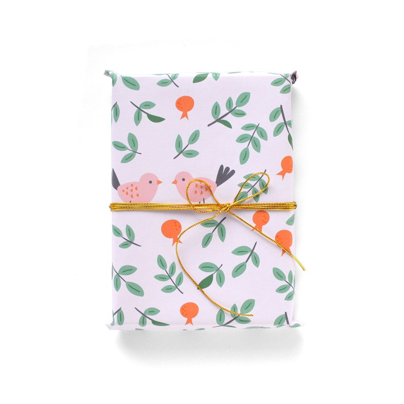 Love Birds and Pomegranate Wrapping Paper 1 Sheet image 0