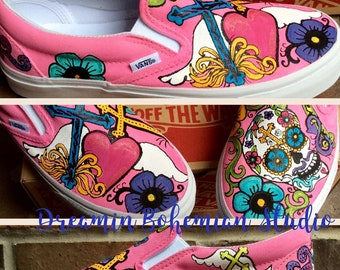0079a2b0aa Custom Sneakers Day of the Dead Shoes