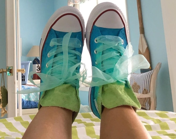 Custom Sneakers For Tween GIrl with Ribbon Laces HandPainted Converse for Bridal Party Flower Girl Ombre Colors from Lime Green to Teal Blue