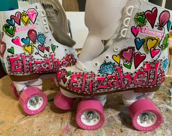 Personalized Roller Skates With Hearts Diamonds Balloons And Name Painted On White Chicago For Young Girl Great Gift Birthday