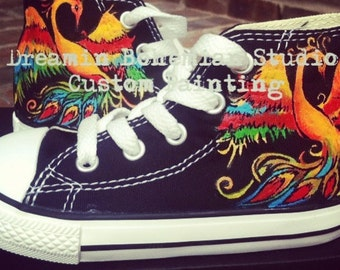 3396e4d89df2 Phoenix Converse for Kids with Hand painted Rainbow Aesthetic Custom  Sneakers shoes Youth sizes colorful flames bird