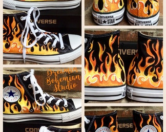 f8b3737ae06a Custom Hand Painted Flames on Black Converse High Tops