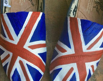 Custom Painted TOMS for Women Union Jack Flag Shoes 3909343050