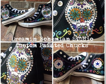 2cbe2e724652d2 Custom Sneakers Day of the Dead Art Converse for Women. Sugar Skull  Handpainted Shoes. Valentines Day Gift for Wife