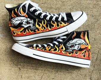 74ff0581c6f2 Skulls Engulfed in Flames Hand Painted Black Hi Top Converse Sneakers