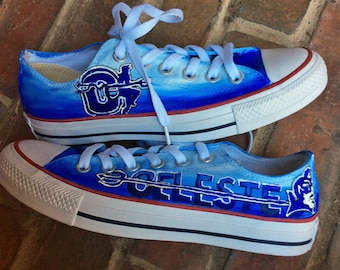 4c28c49a5658 School Spirit Mascot Painted Converse Custom Low Top Tennis Shoes