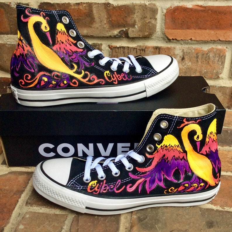 fbfd22117175de Custom Sneakers Phoenix Handpainted Converse. Black Tennis