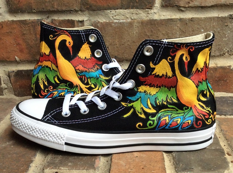 1d48fa8fcd79da Hand Painted Custom Converse Shoes Rainbow Phoenix Bird