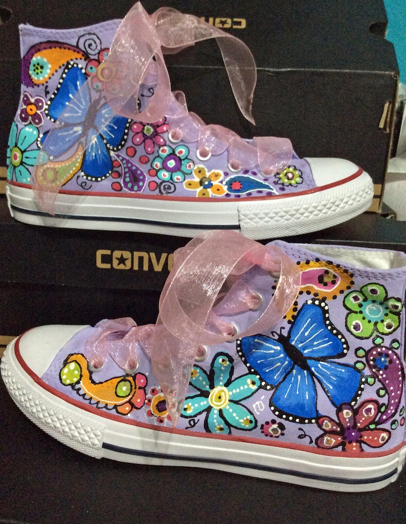 9c97fa8396f4 Custom Converse Sneakers for Flower Girl Floral Chuck Taylors
