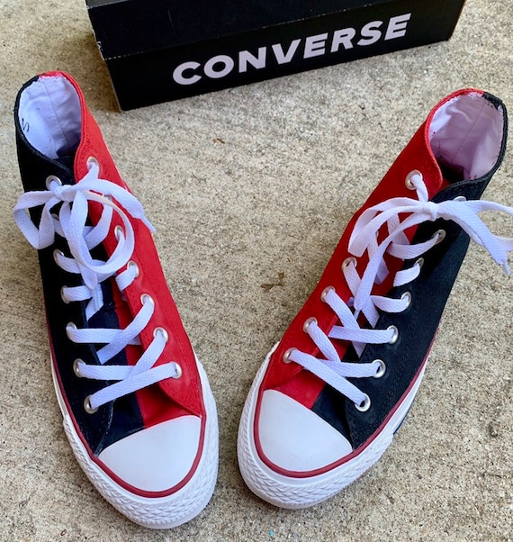 Red and Black Converse with White Laces Handpainted in 2 3 Custom Colors of Your Choice Hi Top Sneakers, Perfect Cosplay Footwear for Adults