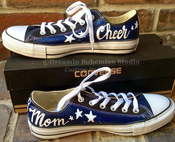 Football Mom School Colors Hand Painted Black Converse