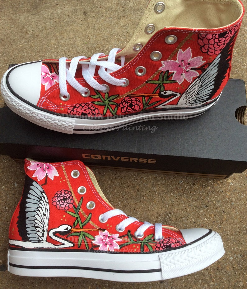 96da537592df Japanese Garden Tattoo Art Painted Converse Chuck Taylor High