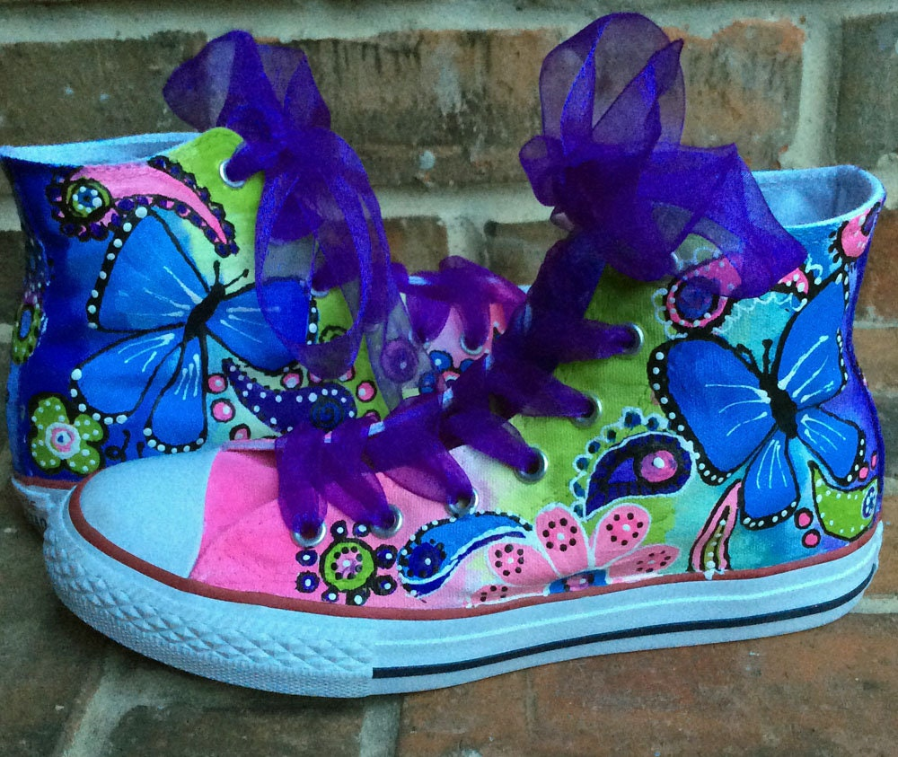 Custom Converse, Painted Ombre Rainbow Sneakers, Handmade Hi top Chucks Butterfly, Flower Girl, Fairy Birthday Party for Girl, Bright Colors