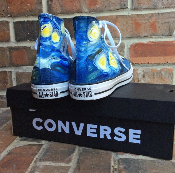 Custom Sneakers Mens Size Hand Painted Starry Night Converse, Unisex Van Gogh Painting on Black High Top Shoes, Artsy Fartsy Shoe Collector