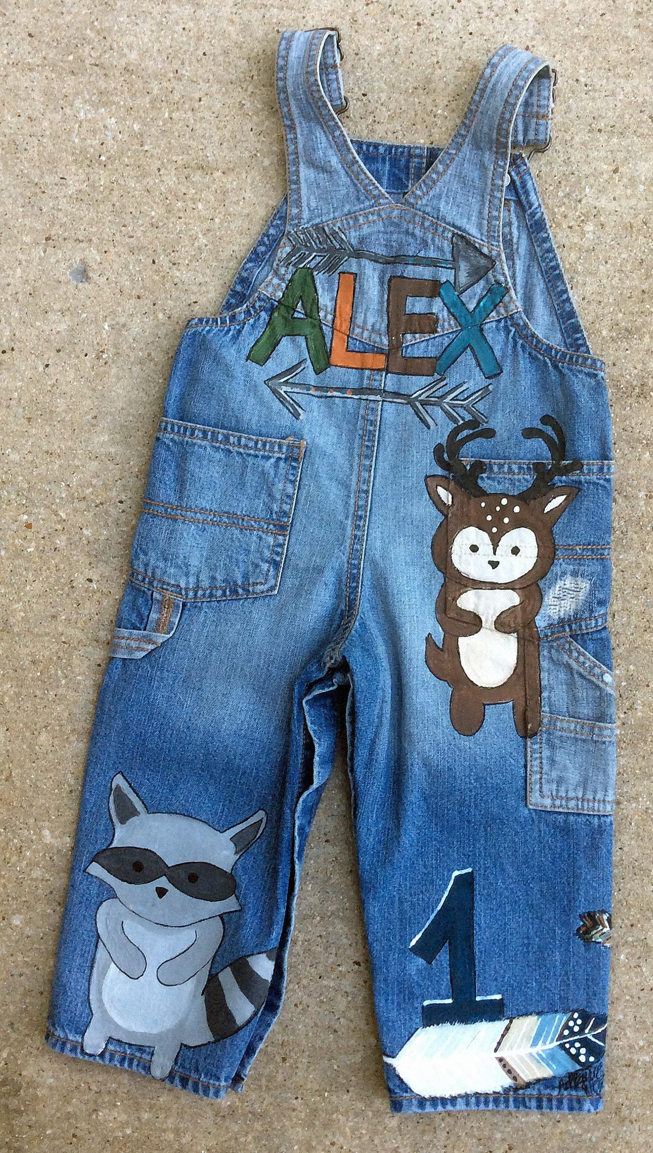 Vintage Overalls & Jumpsuits Denim Overalls Toddler Size Wild One, Woodland Forest Animal Birthday Party Clothing, Trendy Boho Clothes, Gift For Grandson, Son, Girls $103.00 AT vintagedancer.com