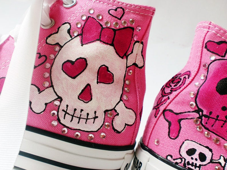 36b6a6f4d4b7 Custom Sneakers Skull and Bows Shoes Hand Painted Converse for