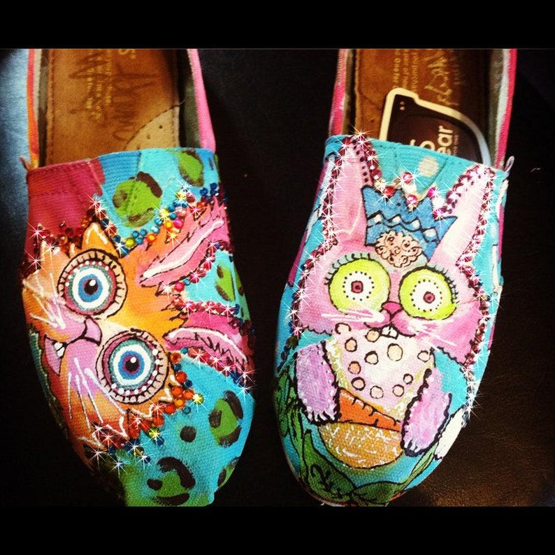 76603beda97 Custom Painted Toms Slip on Shoes Pop Art Rabbits Rainbow
