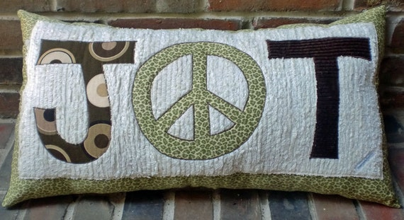 Peace Sign Bedroom Accessories: Monogram Peace Sign Pillow Decor Boho Bedroom Foyer Bench