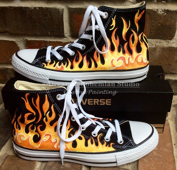 Custom Hand Painted Flames on Black Converse High Tops, Fire Chucks, Yellow Red Fiery Flame Shoes for Men, Women, Car Show, Motorcycle, Fire