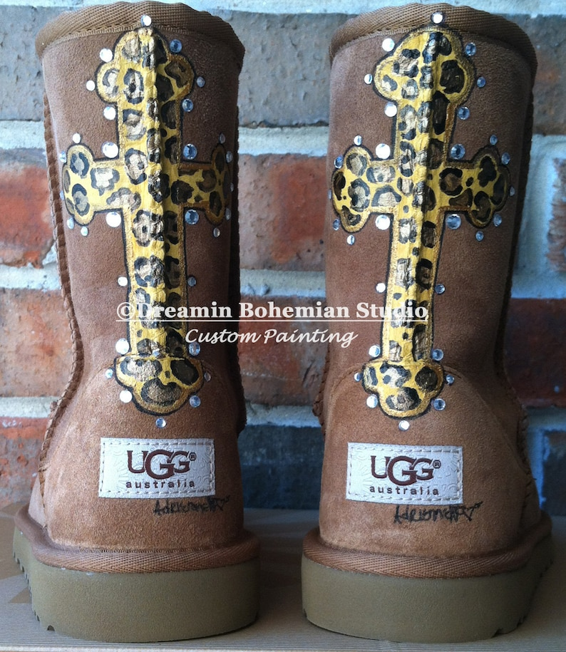 c79fbf00cbb UGGS, Custom Painted Boots, Painted Zebra or Leopard Cross Crown Design,  Womens Sizes 5-12, Gift for Teen, College Student, Wife, Mom