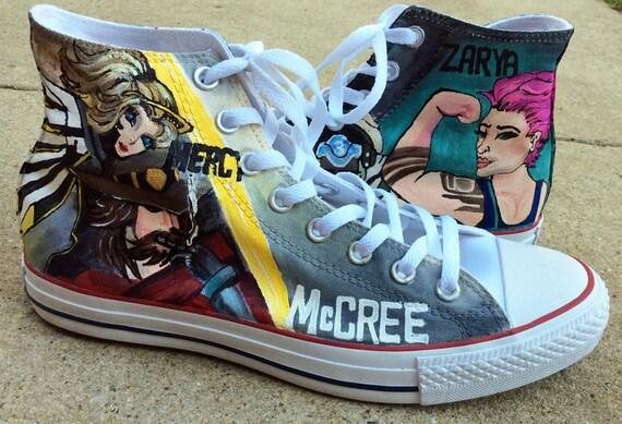 Baskets personnalisées que vous choisissez jeu vidéo Cosplay Converse haute Top peint à la main chaussures, pour les adolescents, hommes, Fan Art,