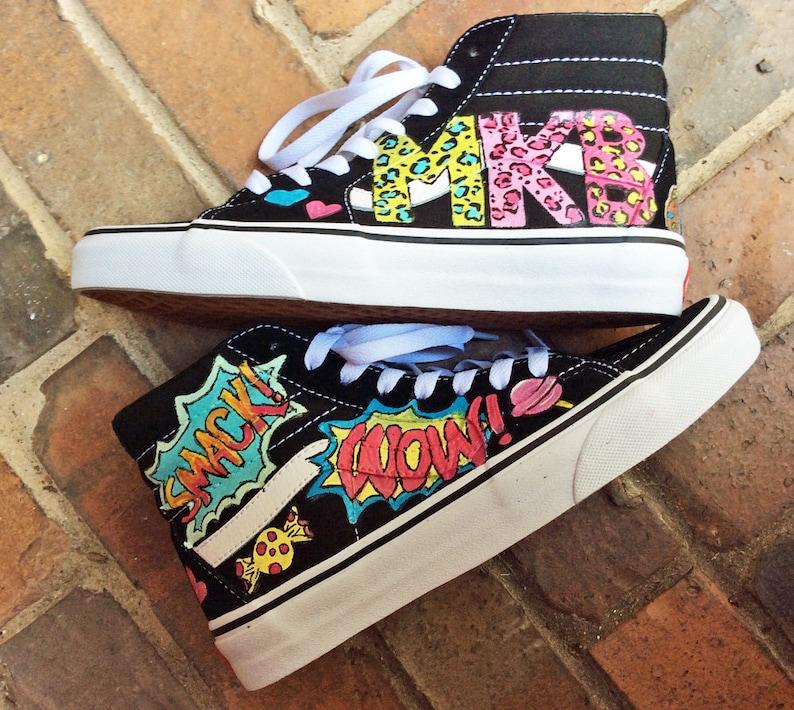 d4ff9401ec5 Custom Vans Sk8 Hi Custom Painted Skater Shoes Pop Art