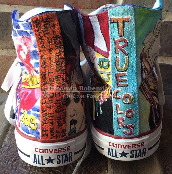 Individuelle Schuhe gemalt handbemalt Converse Hallo Tops   Etsy