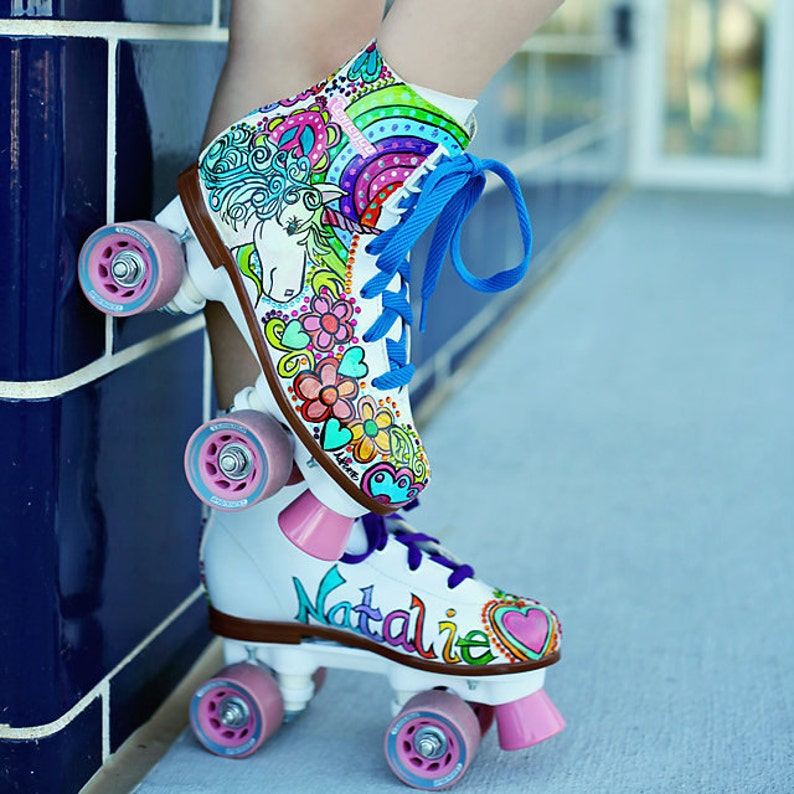 Unicorn Skate Party, Roller Skates, Hand Painted Colorful Rainbows, Peace  Signs, Hearts, Flowers, Rhinestones, Roller Skating Birthday Party