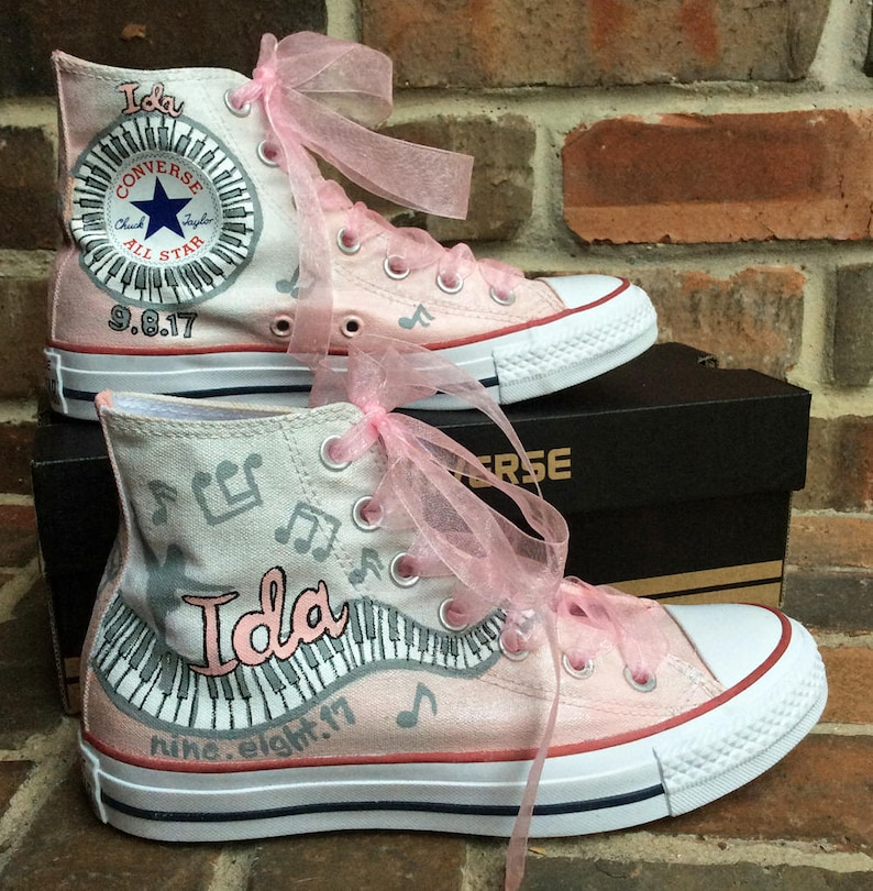 0b9626fdeacb Custom Bat Mitzvah Logo Painted and Personalized Converse High