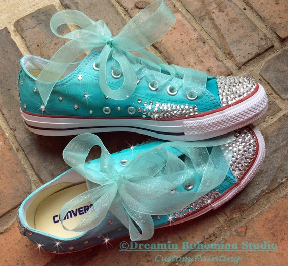 e4bca8ff85c7 Custom Sneakers Youth size with ribbon laces HandPainted Teal