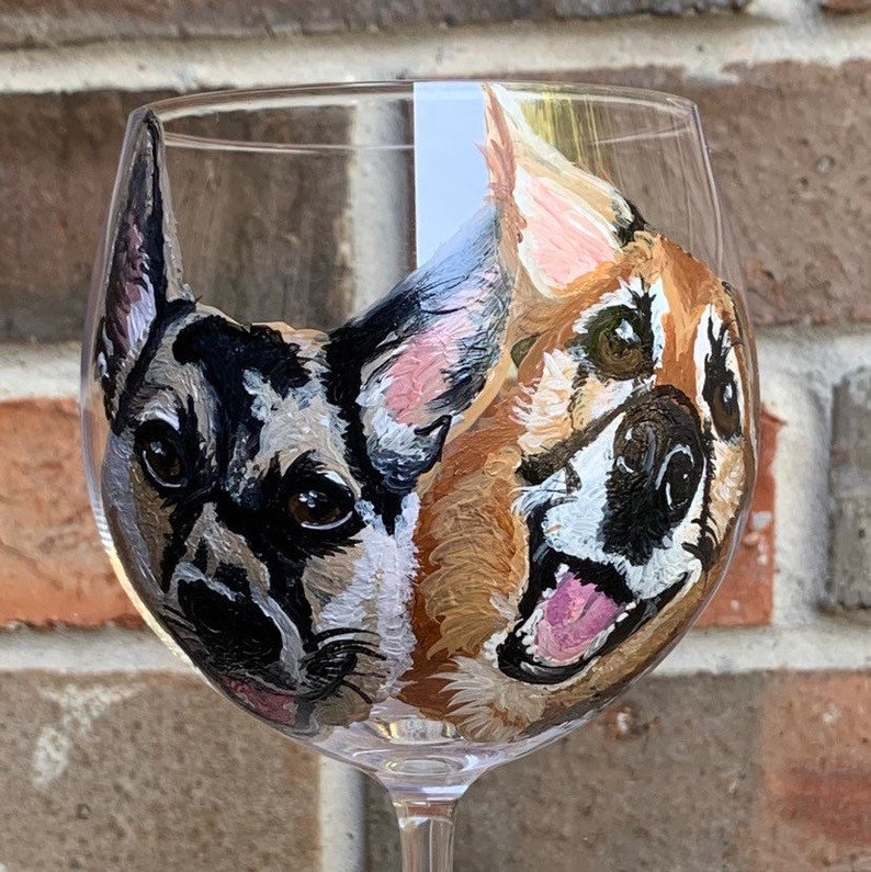 CUSTOM Hand Painted Cat Dog Pet Wine Glass Painted from YOUR Pets Photo