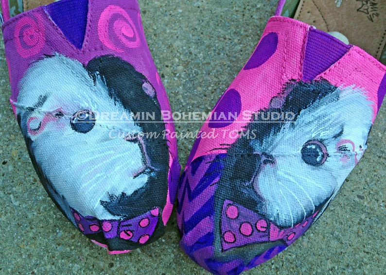 0198f411d3f Custom Toms Womens Size Guinea Pigs with Bowties Hand Painted