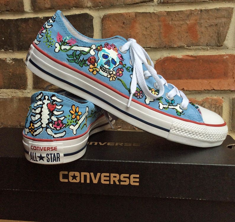 Skeleton Bones and Flowers Custom Hand Painted Low Top Converse for Xray  Tech ef3737367