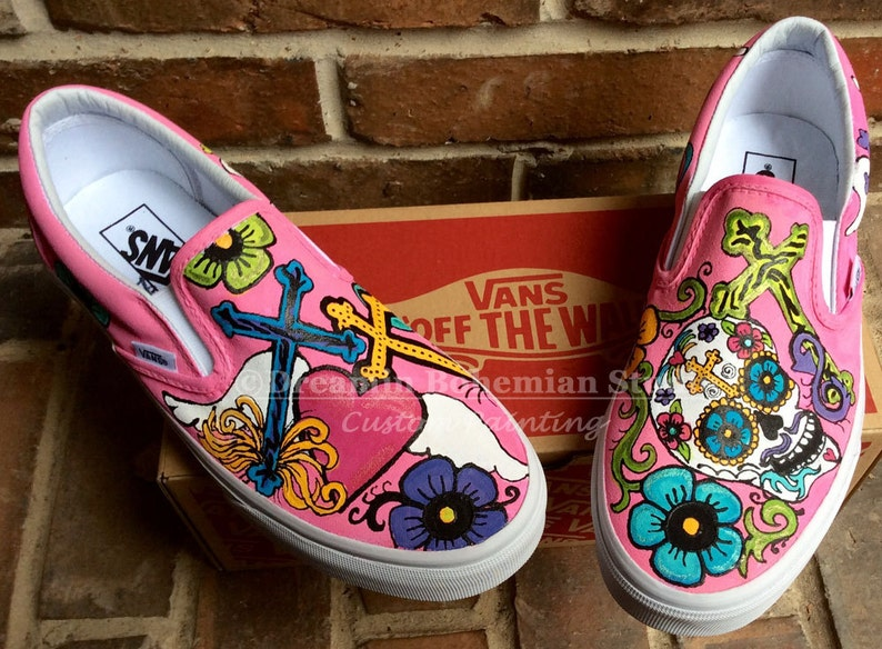47422f1f7b Hand Painted Day of the Dead Custom Vans Slip on Shoes