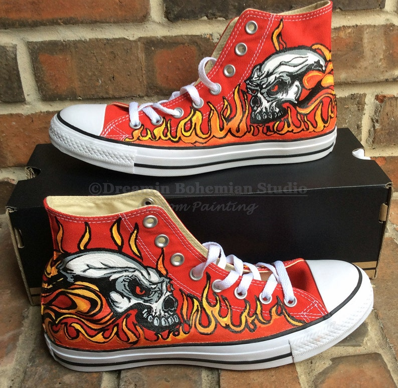 e2ea6eb8f2ee Flames and Skulls Hand Painted Red Converse Tennis Shoes