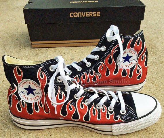 Painted Flame Converse Shoes, Red Pin Striping Flames, Old Fashion Retro Car flame Hi Tops, Swap Meet, Shoes for Men, Choose your Colors