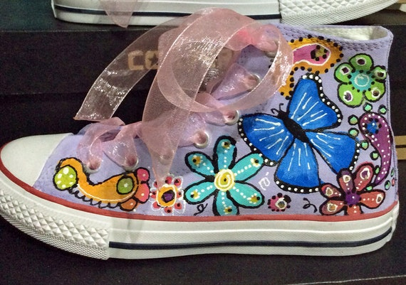 Custom Converse Sneakers for Flower Girl, Floral Chuck Taylors for Kid, Aesthetic Hand Painted Butterfly Paisley Rainbow Bridal Party, Lilac
