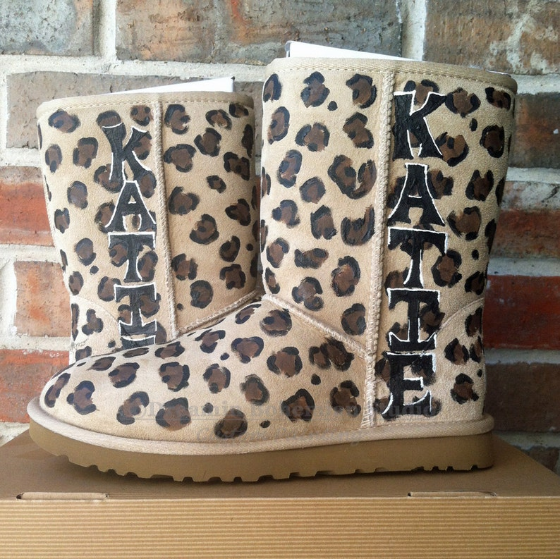 cd3bbe417b7 Painted Leopard Print Uggs with your Name, Mountain Vacation Ugg Boots,  Gift for Wife, Fiance, Girlfriend, Personalized just for her