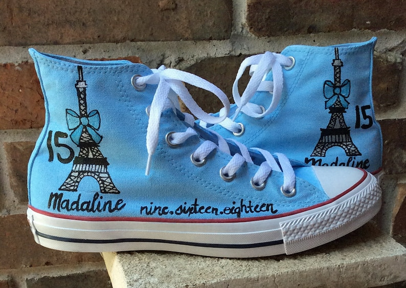 3abf846b7717 Paris Converse Personalized Baby Blue Shoes Birthday Bat