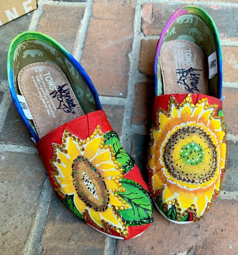 72972cac24e Custom Toms for Women Hand Painted Sunflower Canvas Slip on