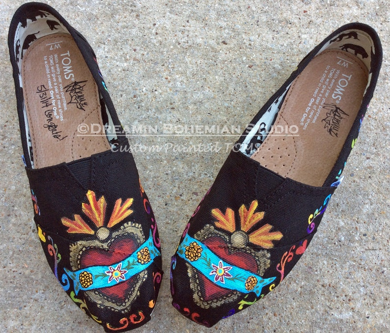 3c1c5b76f794 Hand Painted Heart TOMS for Folklorico Festival Mexico