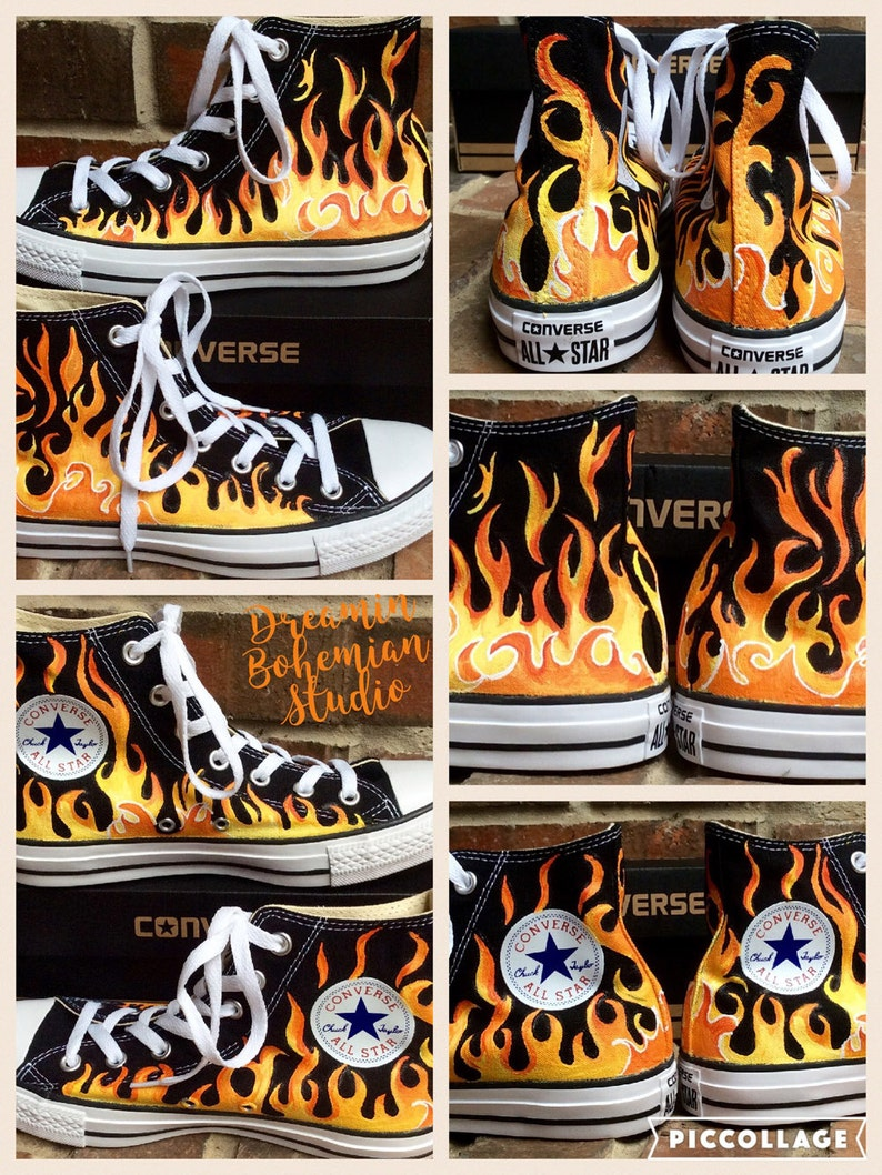 b9eb3de700c2 Custom Hand Painted Flames on Black Converse High Tops Fire