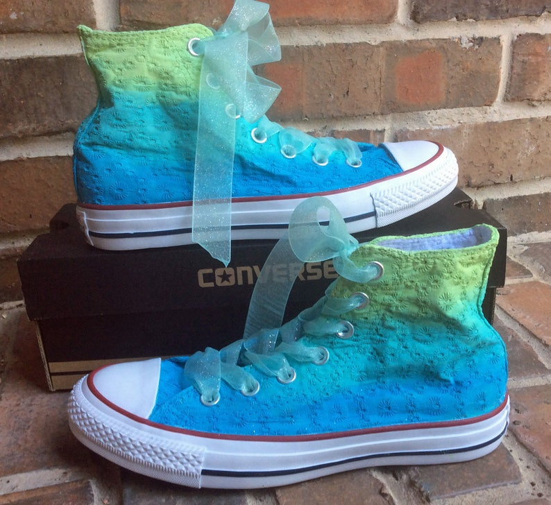 1295633fdd380 Wedding Converse Shoes Custom Painted Sneakers for Bridal Party Ombre  Colors from Lime Green to Teal Blue