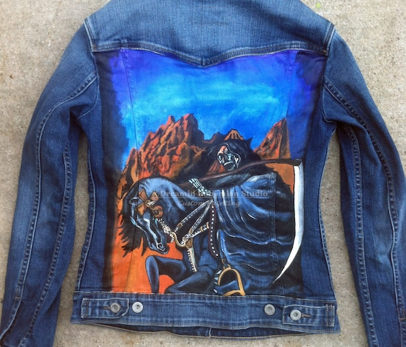 93885143a862f7 Jean Jacket Custom Painted Denim Jacket for Music Fan with | Etsy