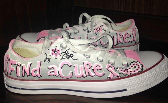 Brustkrebs Bewusstseins gemalt Converse benutzerdefinierte oben Halbschuhe, handbemalt Ombre Chucks, rosa Bändern und Paisley, Krebs Überlebenden