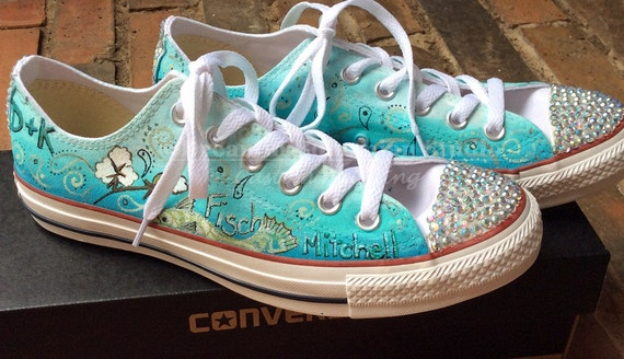 89cb9127383 Custom Converse Wedding Custom Hand Painted Shoes Wedding