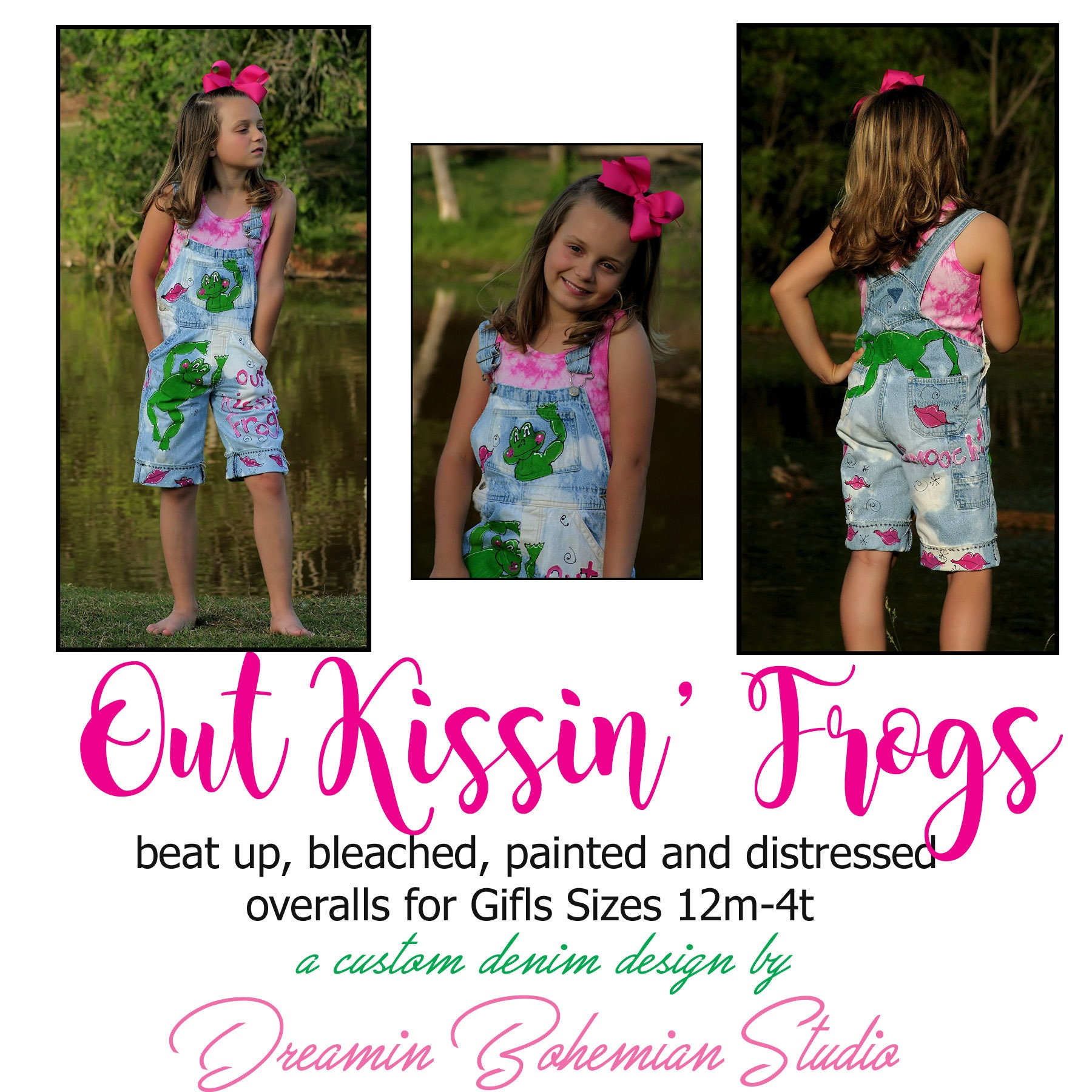 Vintage Overalls & Jumpsuits Distressed Denim Overall Shorts Hand Painted With Green Frogs  Pink Kisses, Out Kissin Original Design For Baby Girls Sizes 12M-4T $105.00 AT vintagedancer.com