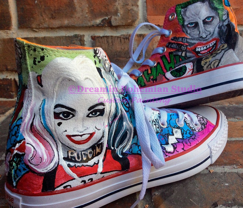 502140056c743f The Joker   Harley Quinn Painted Converse Handpainted Sneaker