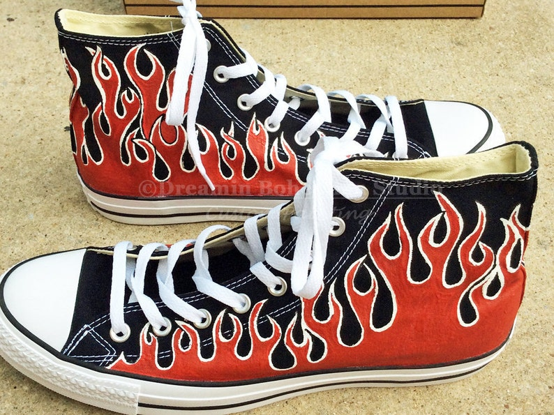 1e95476ec494 Painted Flame Converse Shoes Red Pin Striping Flames Old